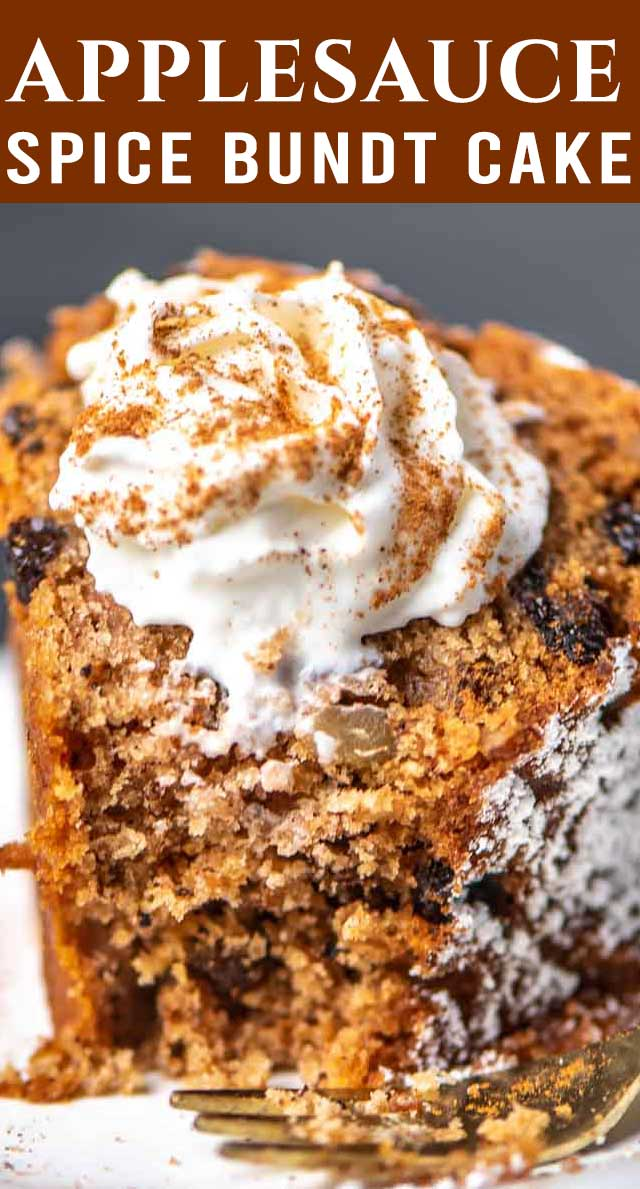 An easy spice cake loaded with raisins and nuts. Applesauce Bundt Cake stays moist, fresh and flavorful with unsweetened applesauce. via @thebestcakerecipes