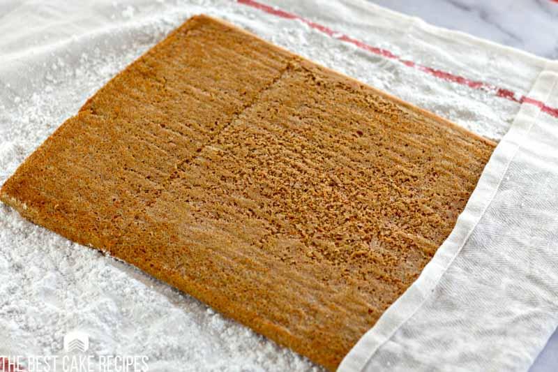 cake roll on powdered sugar towel