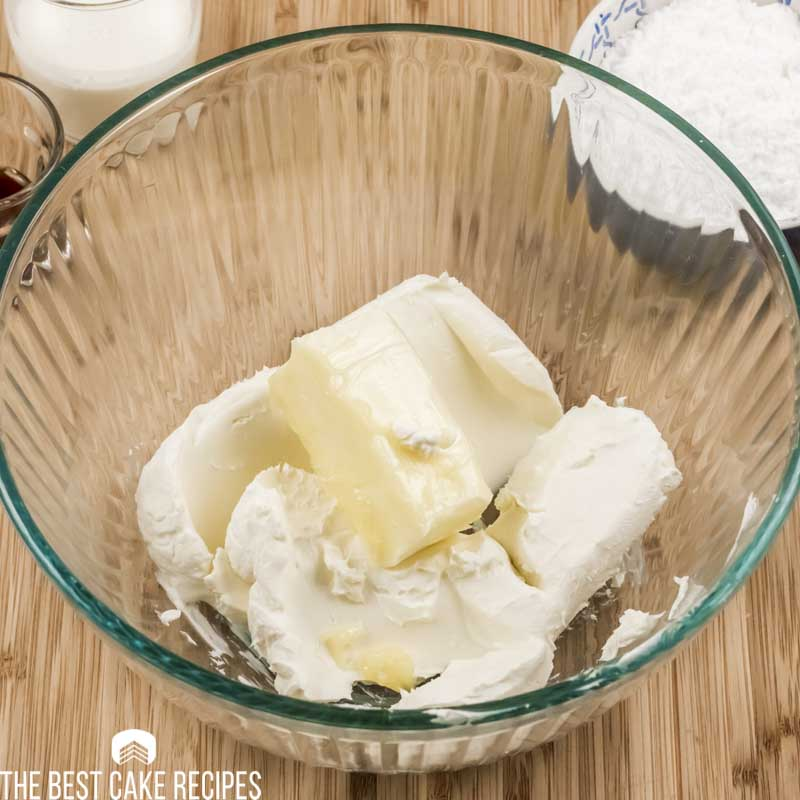 butter and cream cheese in a bowl