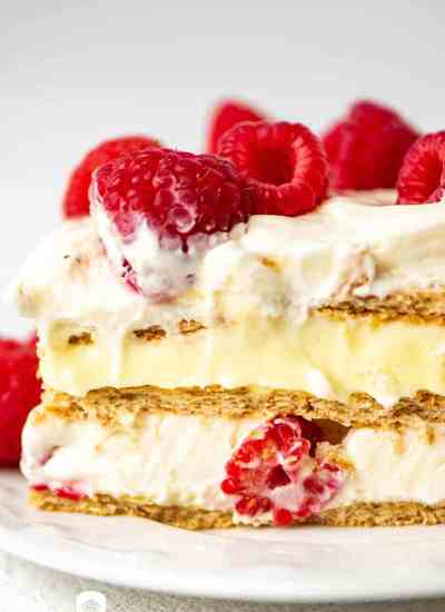 raspberry lemon refrigerator cake close up
