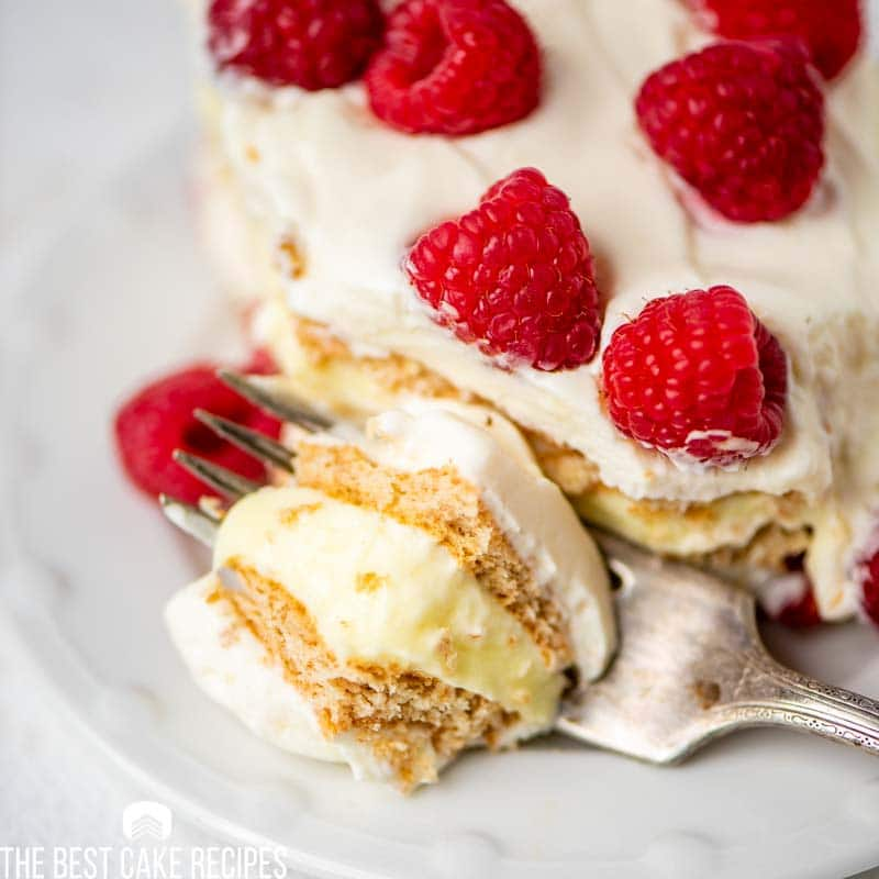 icebox cake with bite on a fork