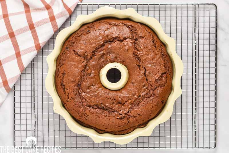 overhead shot of bundt cake in the pan