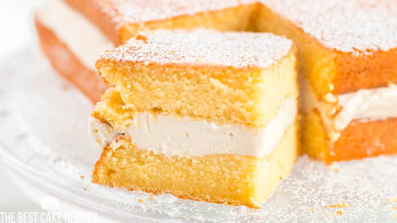 slice of twinkie cake with cream filling