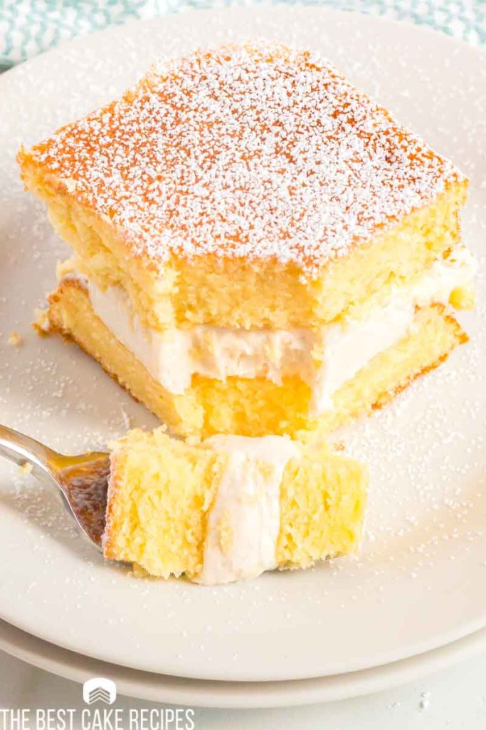 two layer yellow cake with cream filling on a plate
