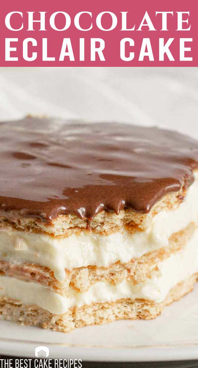 This chocolate eclair cake takes the decadence of a classic pastry and turns it into a simple and delicious homemade dessert! This no-bake dessert is perfect for summertime. via @thebestcakerecipes