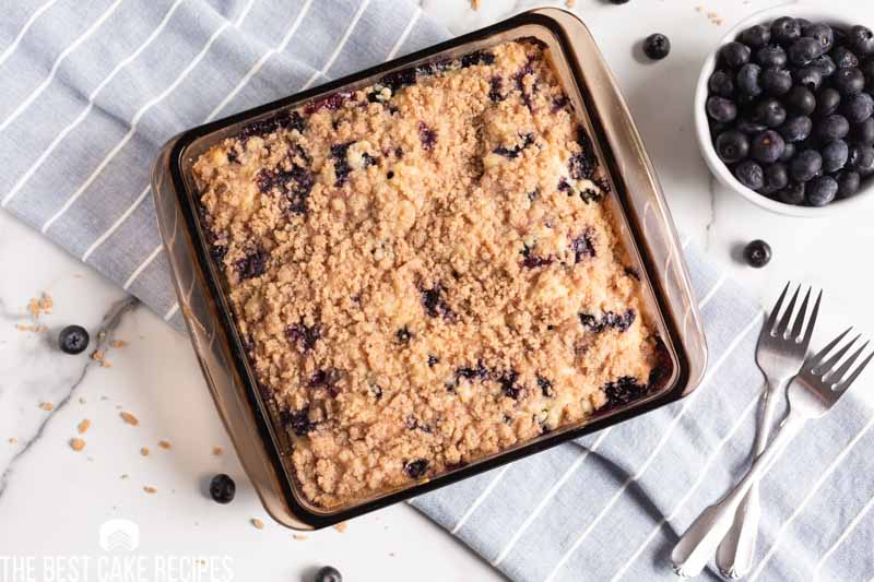 overhead blueberry cake