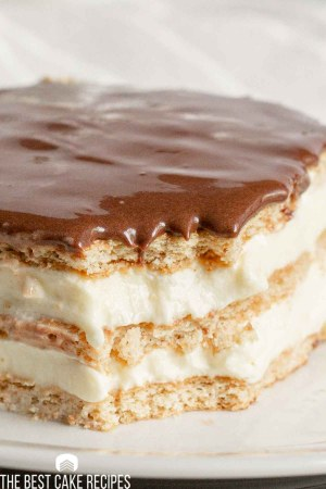 closeup of eclair cake with bite missing