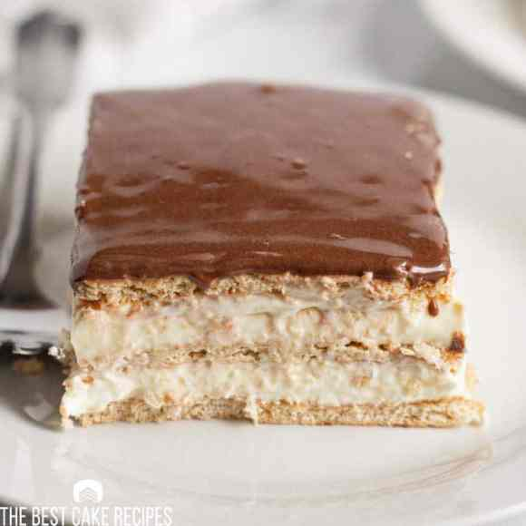 slice of eclair cake on a plate