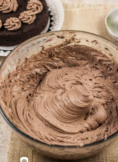 bowl of low carb chocolate frosting