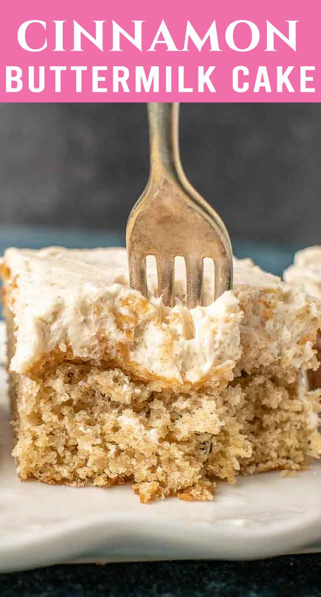 Another classic homemade cake mix recipe for you to try! This irresistible cake mix buttermilk cake frosted with cinnamon buttercream is so simple yet so comforting. via @thebestcakerecipes