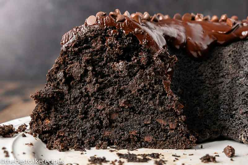 chocolate banana bundt cake on a plate