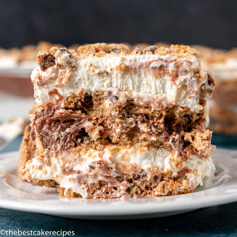 slice of chocolate chip icebox cake on a plate