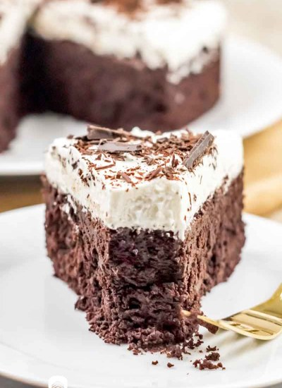 chocolate brownie cake with a bite out of it