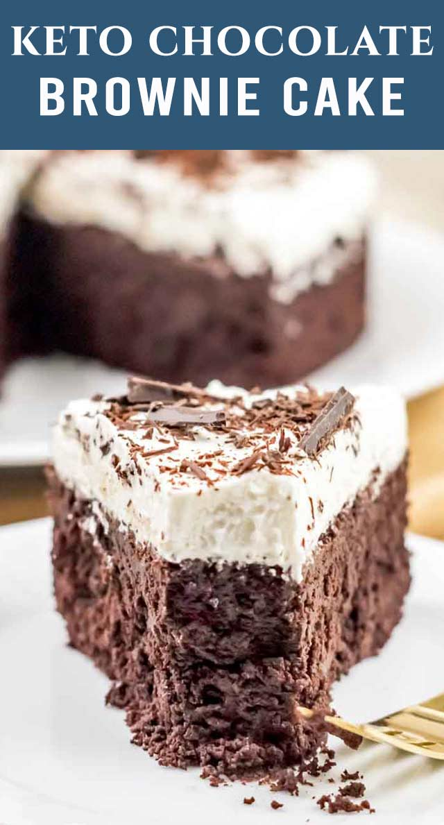 If you miss a rich cake brownie, you'll love this moist and chocolatey Keto Brownie Cake! Top with a light whipped cream frosting and low carb chocolate curls. via @thebestcakerecipes