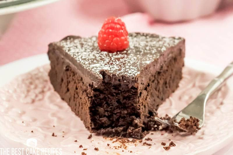 low carb fudge cake with a bite out of it