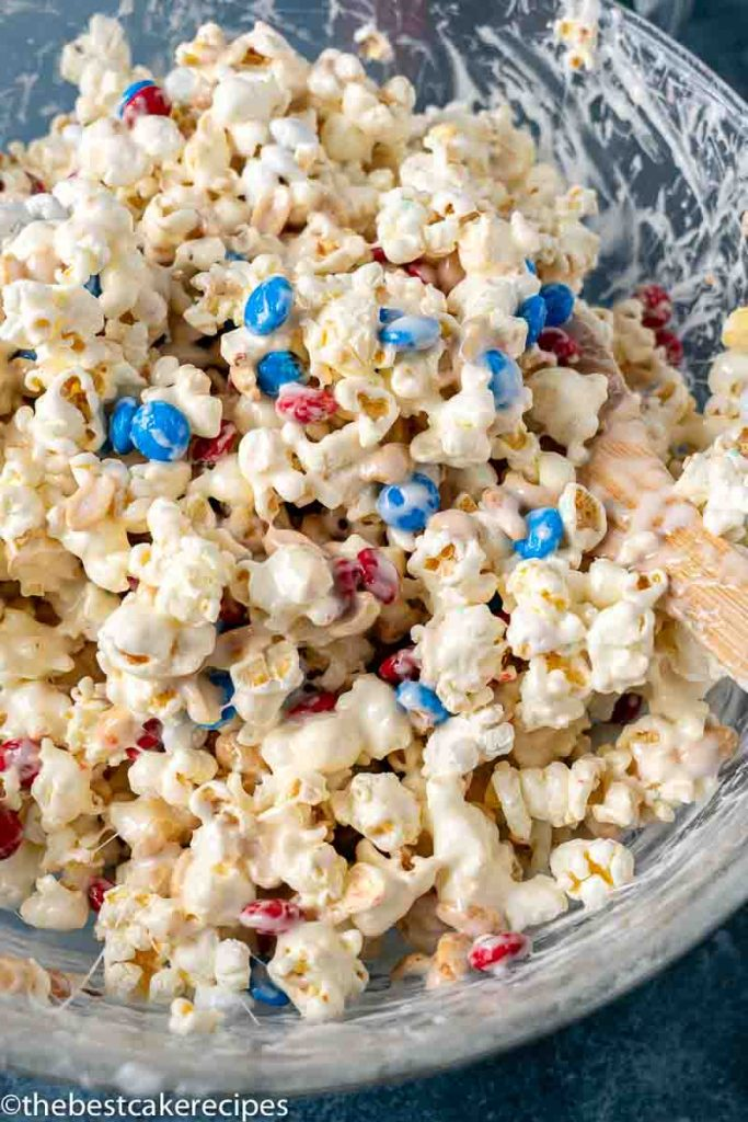 popcorn cake mixture in a bowl