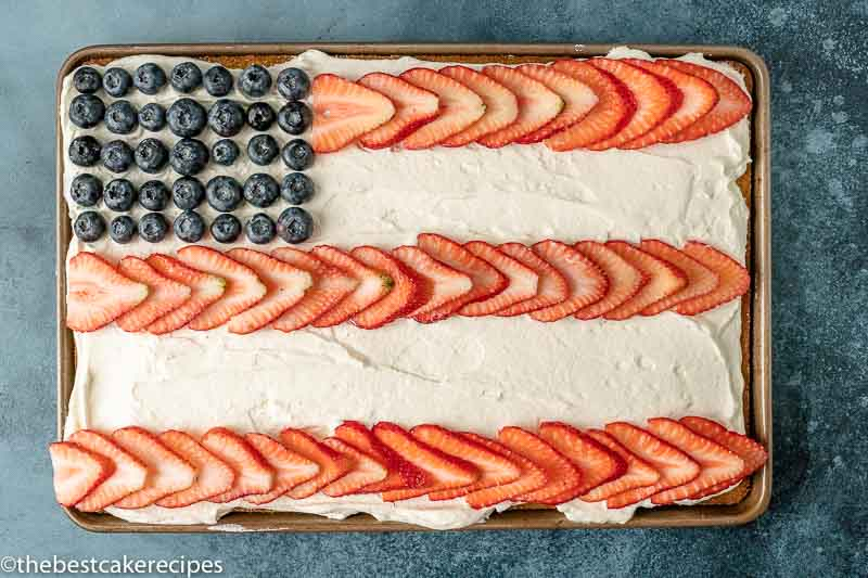 overhead view of patriotic sheet cake