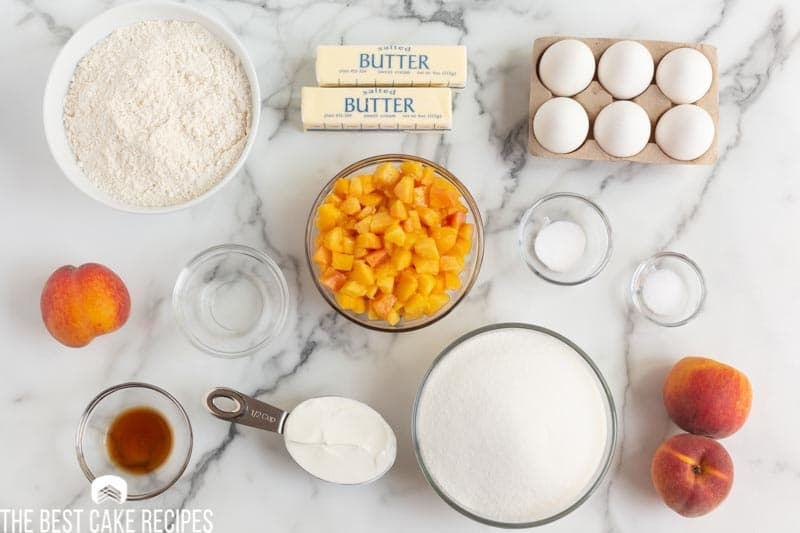 ingredients for peach pound cake