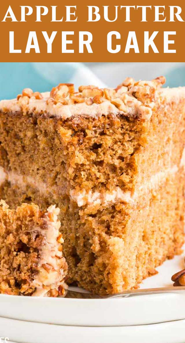Layers and layers of deliciousness this Apple Butter Layer Cake is THE cake you want to make this fall. Spiked with apple butter and frosted with a cinnamon buttercream. via @thebestcakerecipes