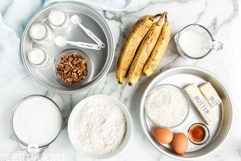 ingredients for banana coconut cake