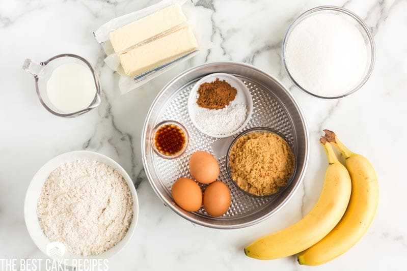ingredients for banana upside down cake