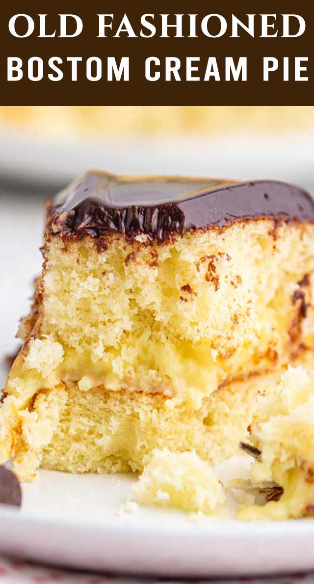 This Boston Cream Pie Cake is a classic! Soft yellow cake with a homemade custard filling, topped with silky chocolate ganache. via @thebestcakerecipes
