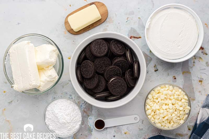 ingredients for white chocolate no bake cheesecake