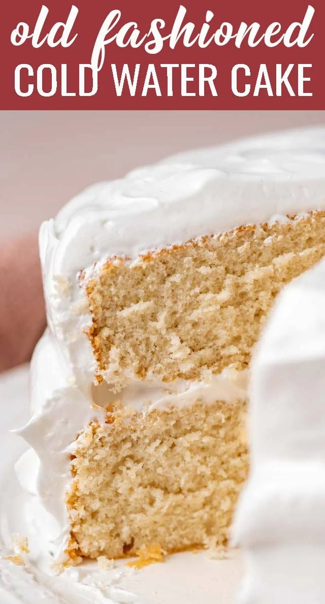 A vintage recipe that is a must try! White cold water cake with fluffy 7 minute frosting. Simple flavors, but so comforting and good. via @thebestcakerecipes