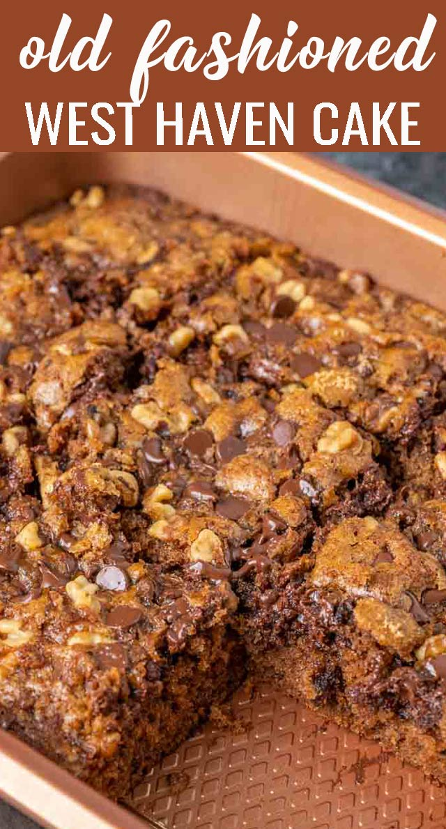 Old Fashioned West Haven Cake is a chocolate cake recipe loaded with chocolate chips, dates and nuts. No need for frosting with brown sugar baked on the top. via @thebestcakerecipes
