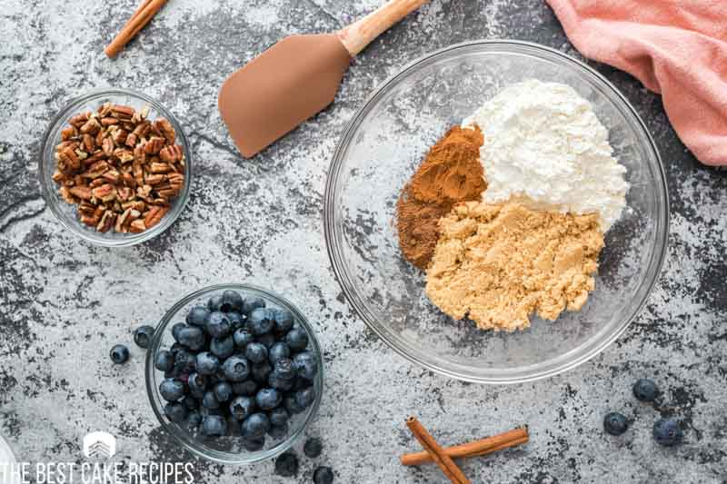 ingredients for blueberry streusel