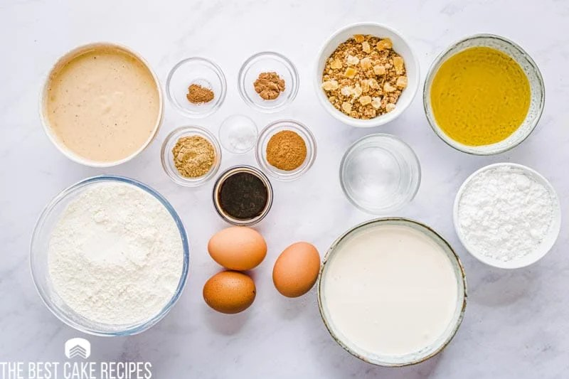 ingredients for gingerbread eggnog poke cake