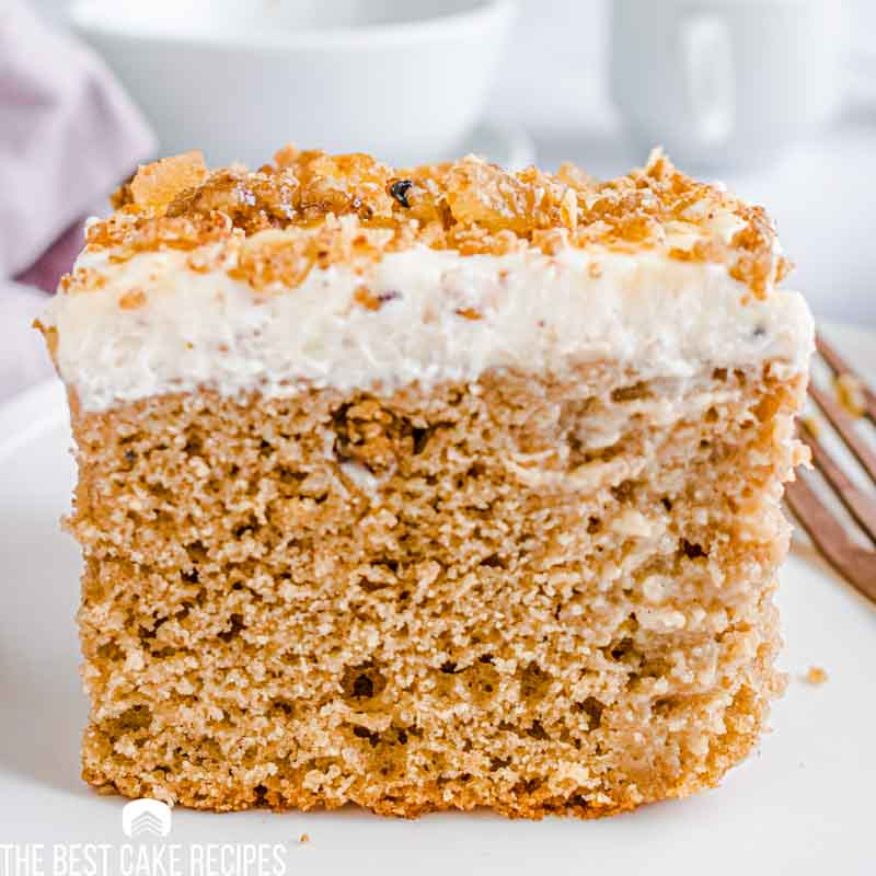 close up of gingerbread eggnog poke cake