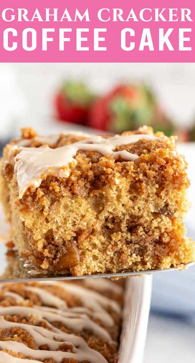 Graham Cracker Coffee Cake starts with a cake mix and has a delicious graham cracker cinnamon streusel. This comforting cake will remind you of home! via @thebestcakerecipes
