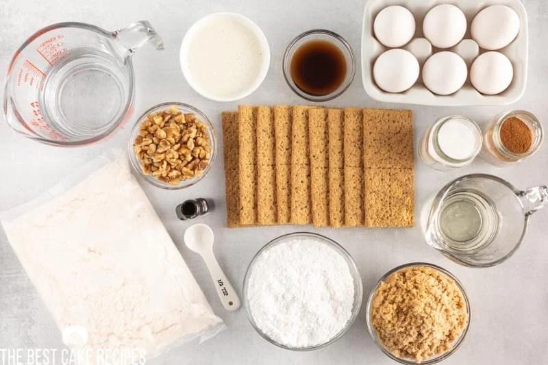 ingredients for graham cracker coffee cake