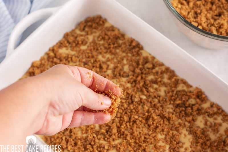 sprinkling streusel over cake batter in a pan