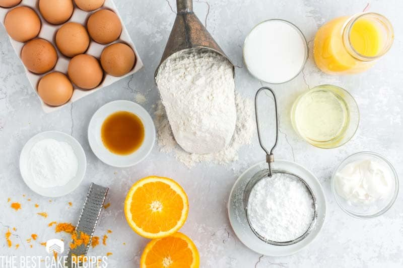ingredients for orange bundt cake