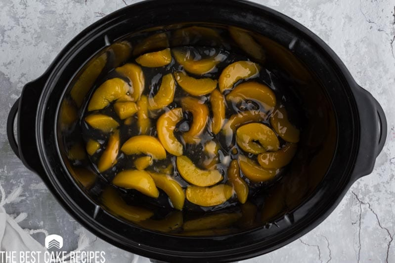 peach pie filling in a slow cooker