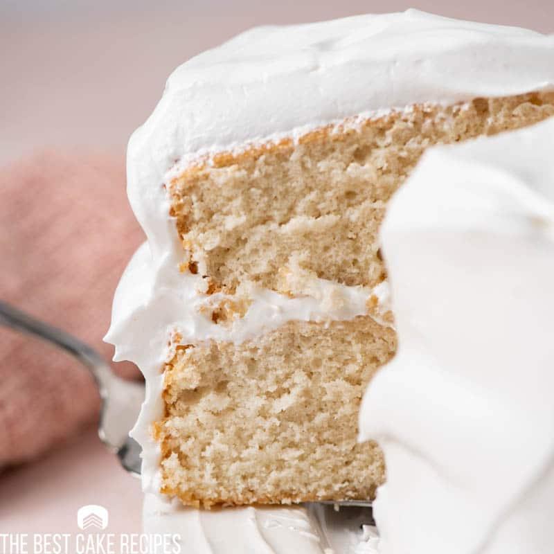 slice of white cake on a spatula