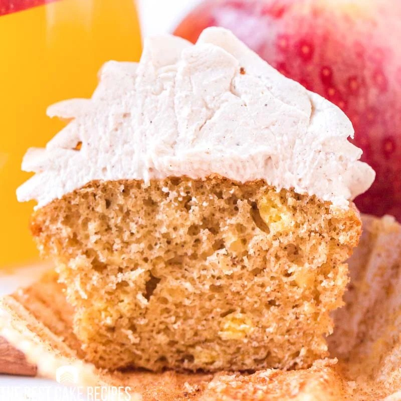 apple cider cupcake sliced in half