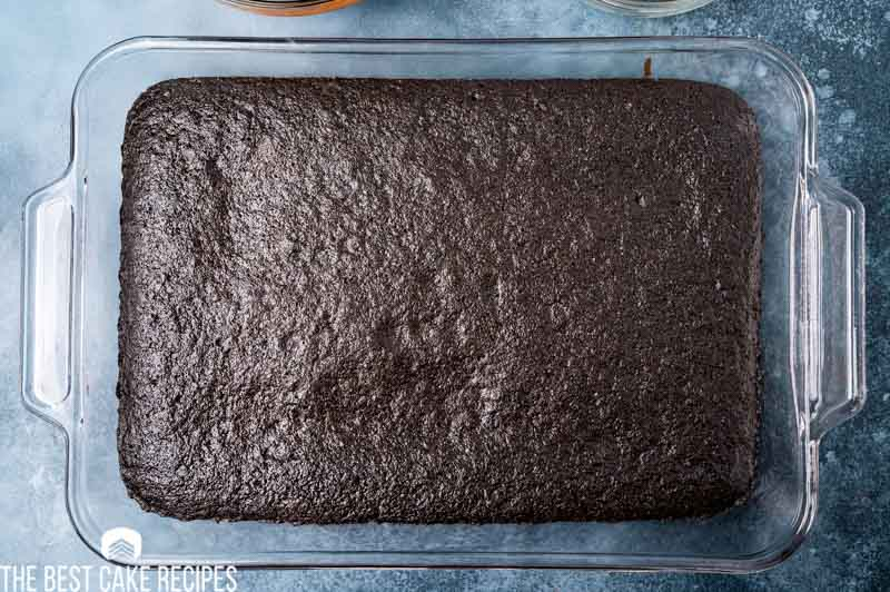baked chocolate cake in a 9x13 pan