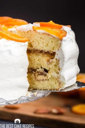 slice of orange marmalade cake on a spatula