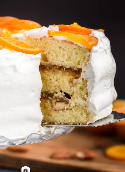 slice of orange marmalade cake on a spatula