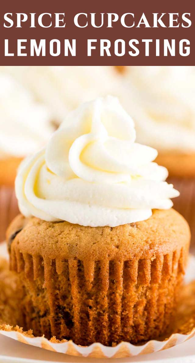 Soft spice cupcakes loaded with raisins and nuts, topped with a sweet and tangy lemon buttercream frosting. A unique flavor combination you'll love! via @thebestcakerecipes