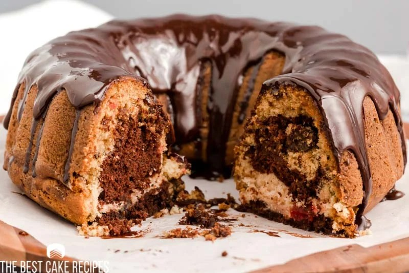 cherry marble cake with one slice missing