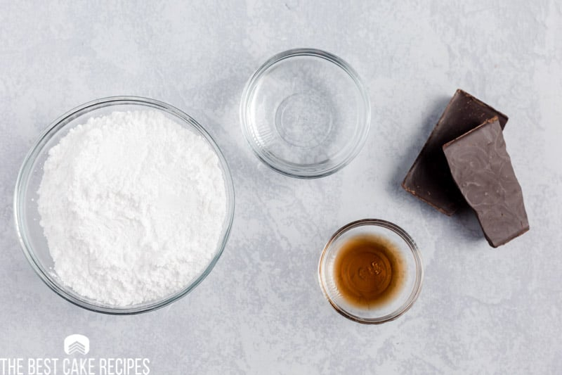 ingredients for chocolate glaze on a table