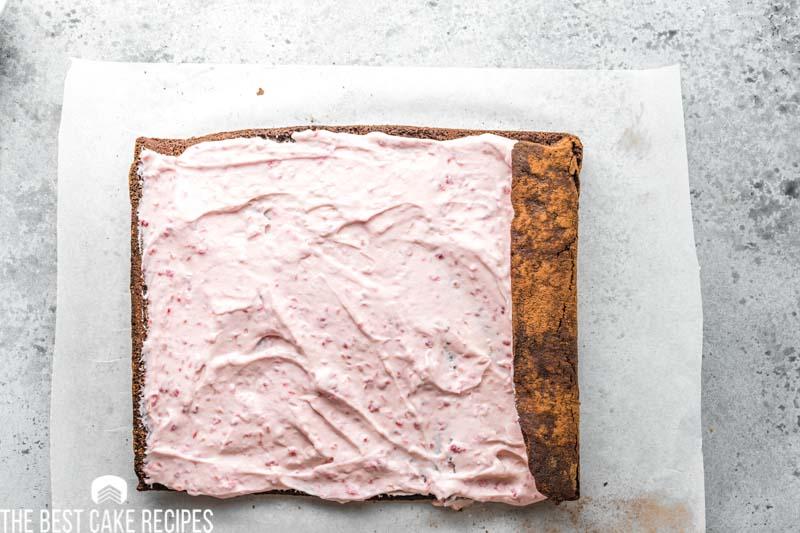 unrolled raspberry cake roll