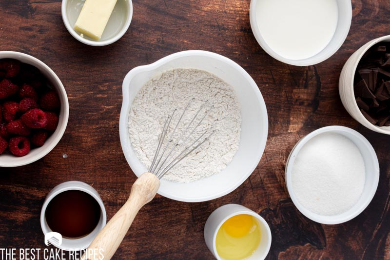 flour in a mixing bowl
