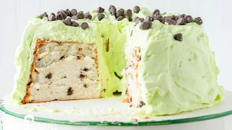 mint chocolate chip angel food cake with green frosting