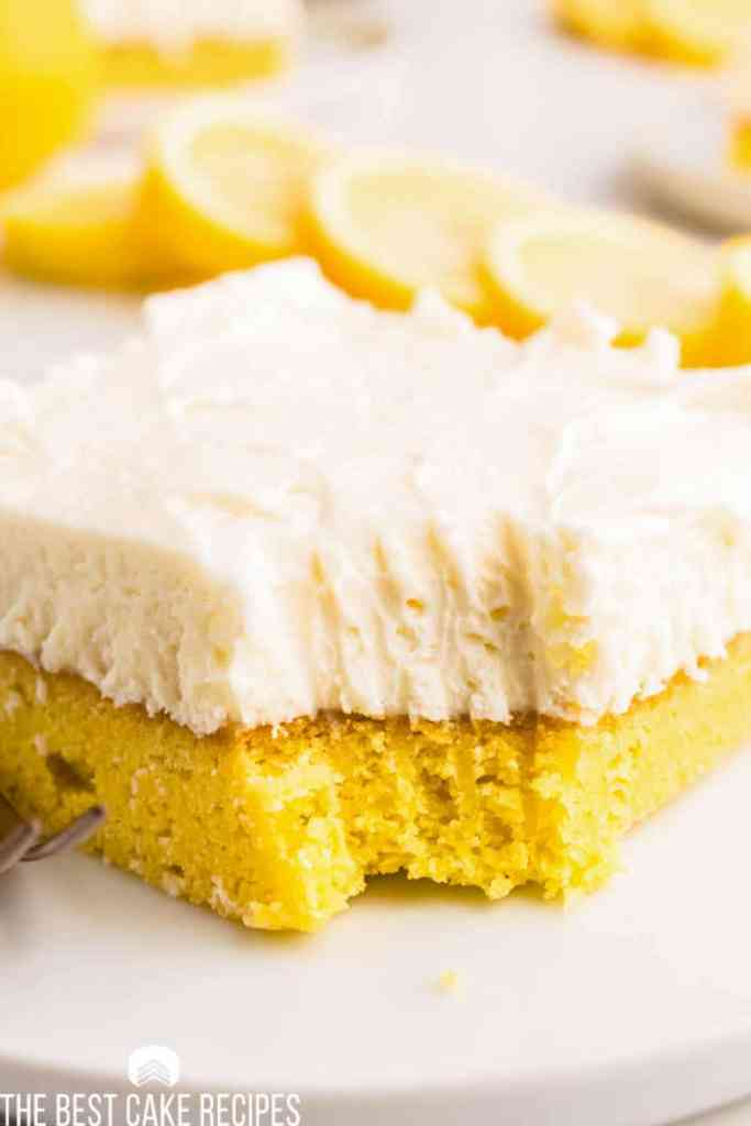 frosted lemon cream cake mix bars with frosting