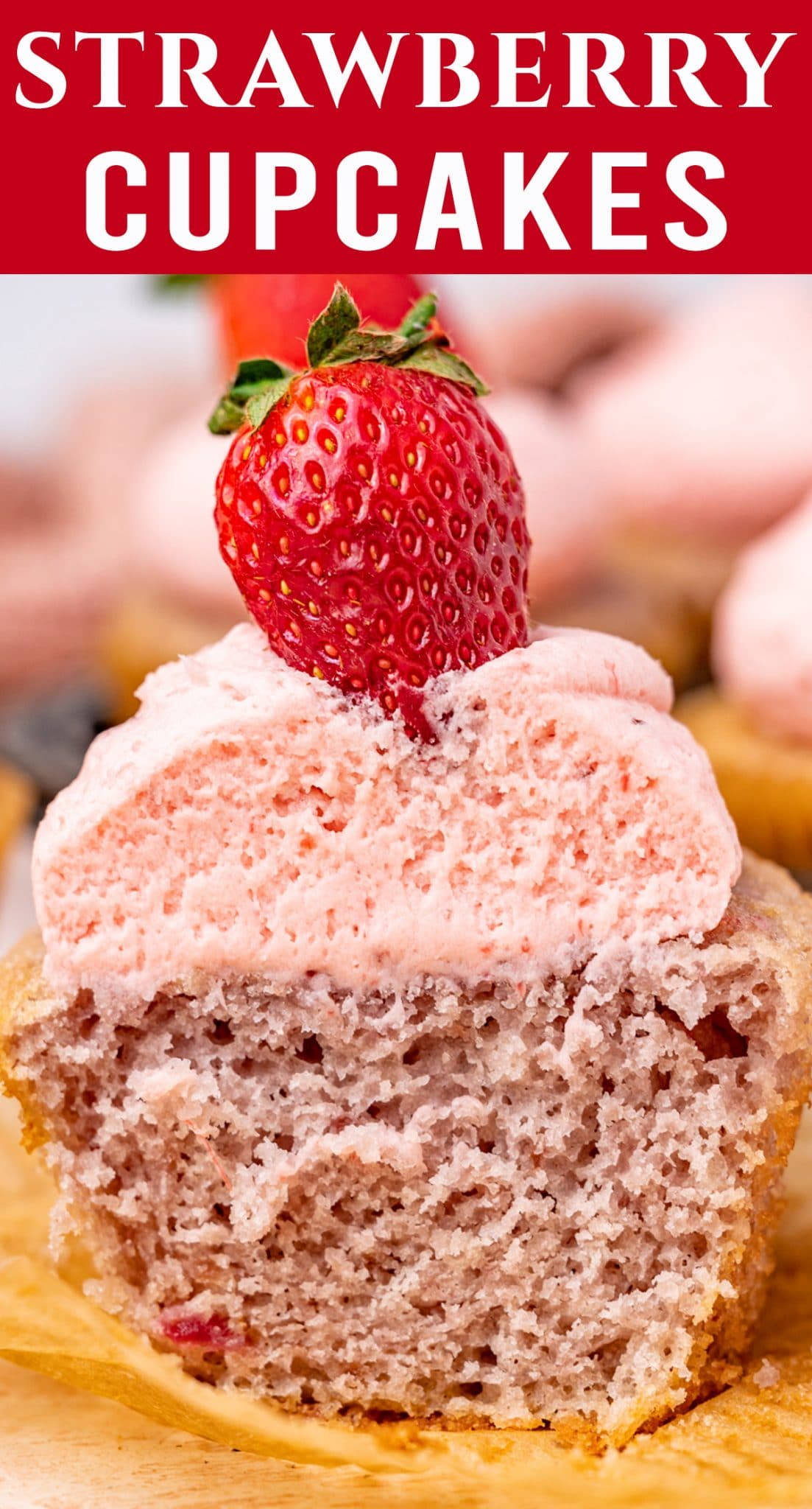 100% homemade strawberry cupcakes with intense flavor thanks to a reduced strawberry puree. These are soft, tender and fresh. via @thebestcakerecipes